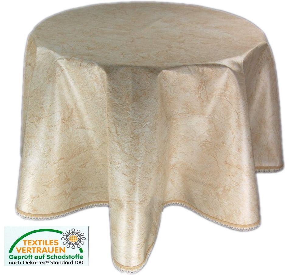 wachstuch m spitze tischdecke 140 cm rund abwaschbar kueche garten aus. Black Bedroom Furniture Sets. Home Design Ideas