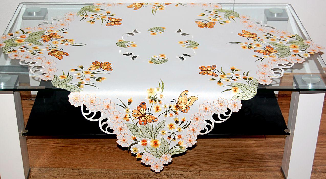 tischdecke tischl ufer deckchen sekt schmetterlinge bl te. Black Bedroom Furniture Sets. Home Design Ideas