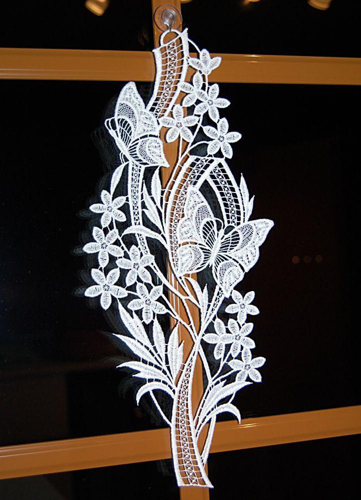 Fensterbilder 2er Set Blumenkörbchen Plauener Spitze Frühlings-Sommer-Blumendeko