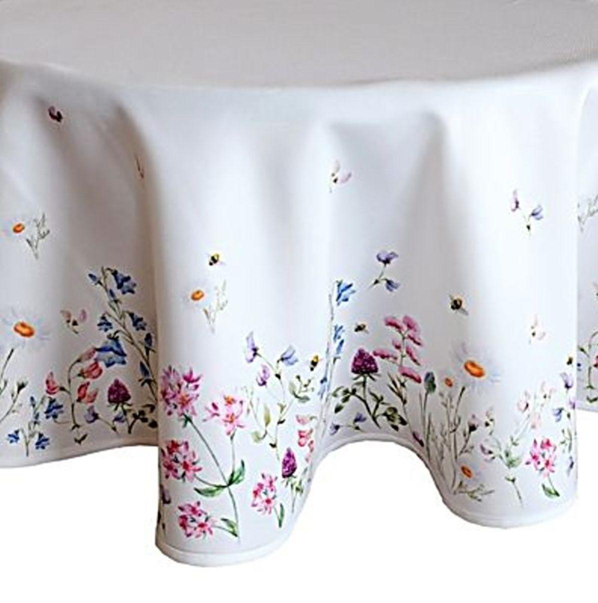 Tischtuch Rund Pflegeleicht Weiß Blumenwiese Bunt Frühling Tafeltuch ...