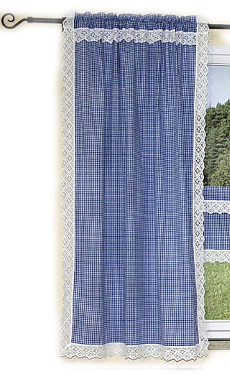 hossner gardine schal panneuax landhaus blau wei kariert h kelspitze handarbeit ebay. Black Bedroom Furniture Sets. Home Design Ideas