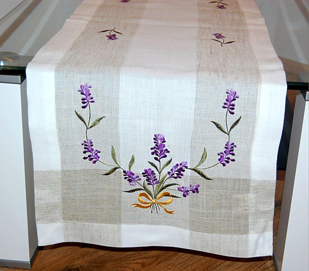 tischdecke 40x110 cm leinenoptik lavendel tischl ufer. Black Bedroom Furniture Sets. Home Design Ideas
