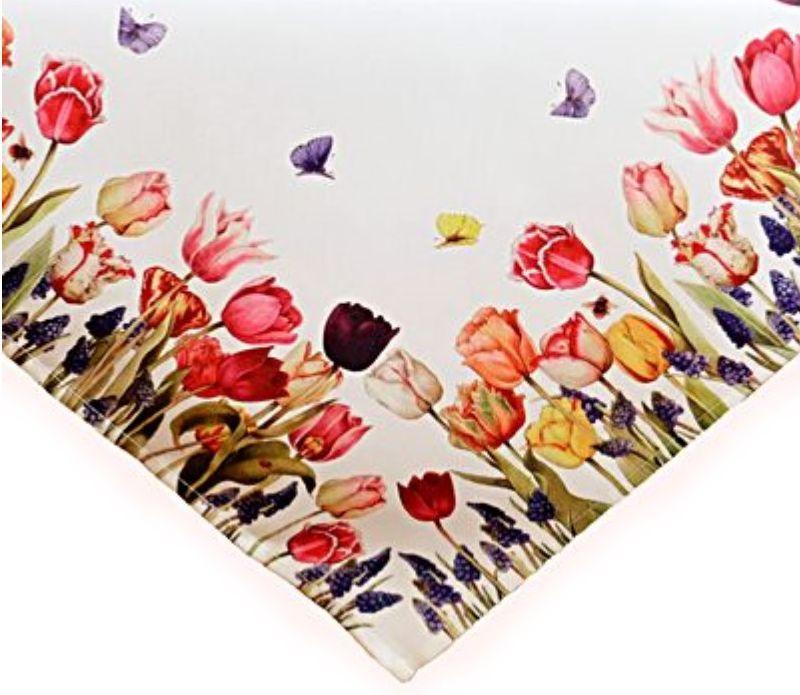 tischdecke wei tulpen bunt mitteldecke kaffeedecke garten. Black Bedroom Furniture Sets. Home Design Ideas