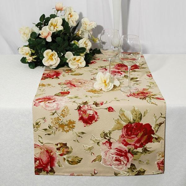 tischdecke 50x140 cm beige rosen rot tischl ufer l ufer. Black Bedroom Furniture Sets. Home Design Ideas