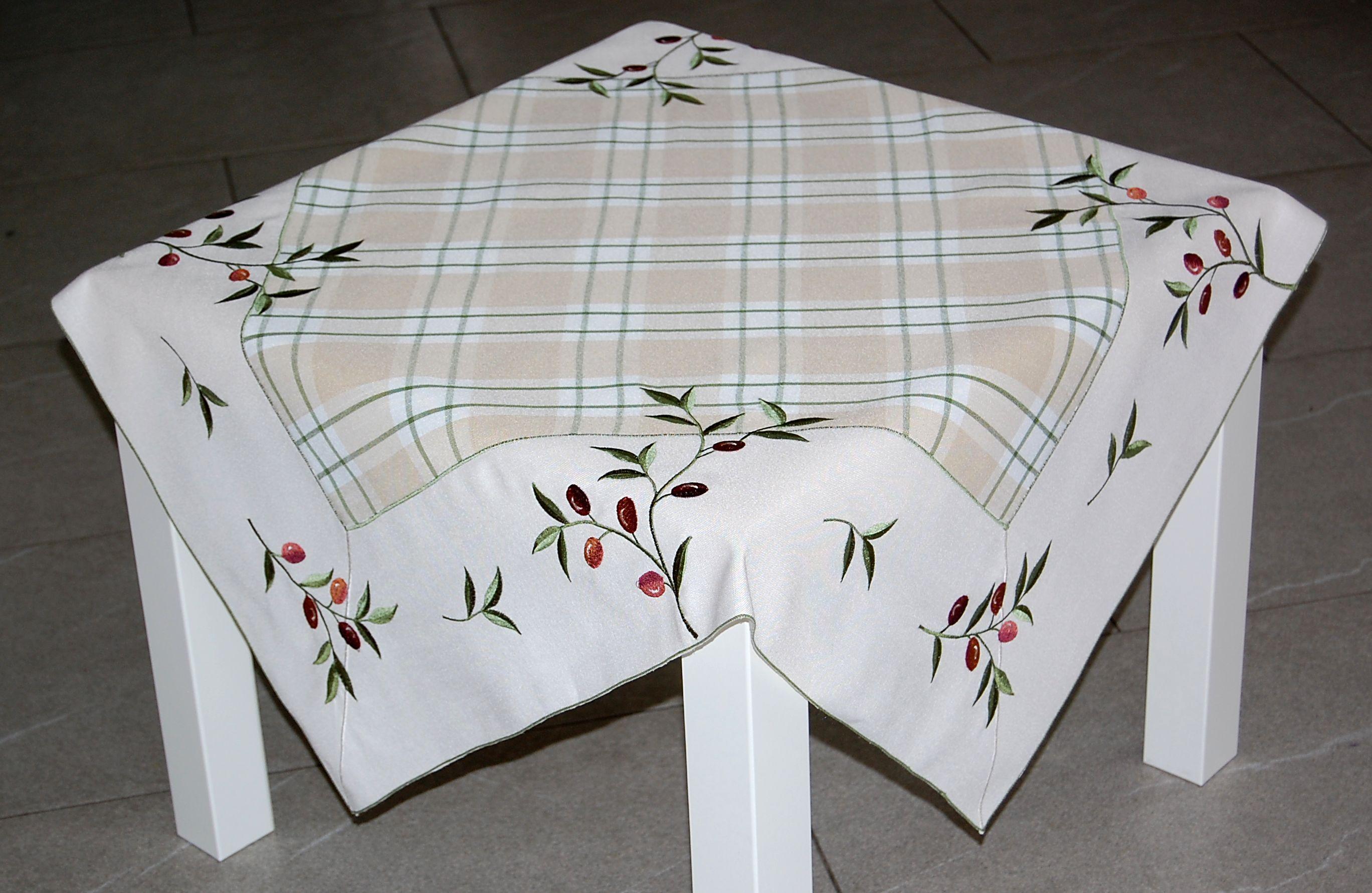 tischdecke beige baumwolloptik olive mediterran kariert. Black Bedroom Furniture Sets. Home Design Ideas