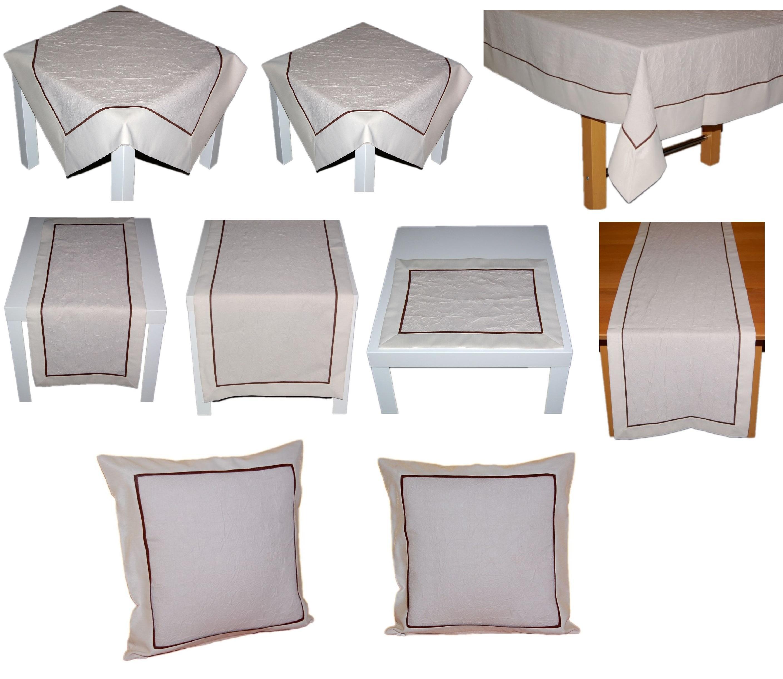 tischdecke neutral beige zierband braun tischl ufer. Black Bedroom Furniture Sets. Home Design Ideas