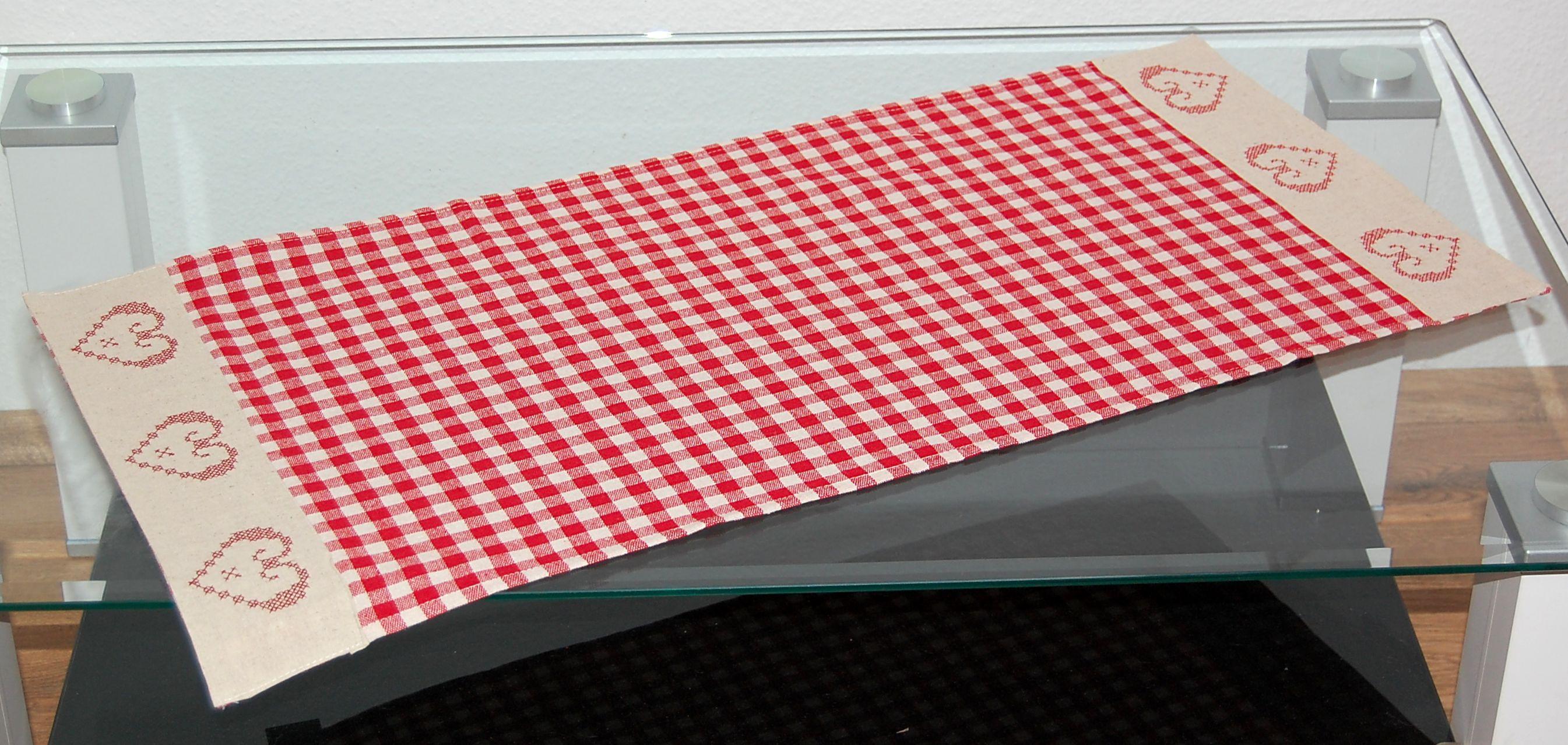 tischdecke tischl ufer l ufer k chen decke baumwolle beige rot kariert 40x85 cm ebay. Black Bedroom Furniture Sets. Home Design Ideas
