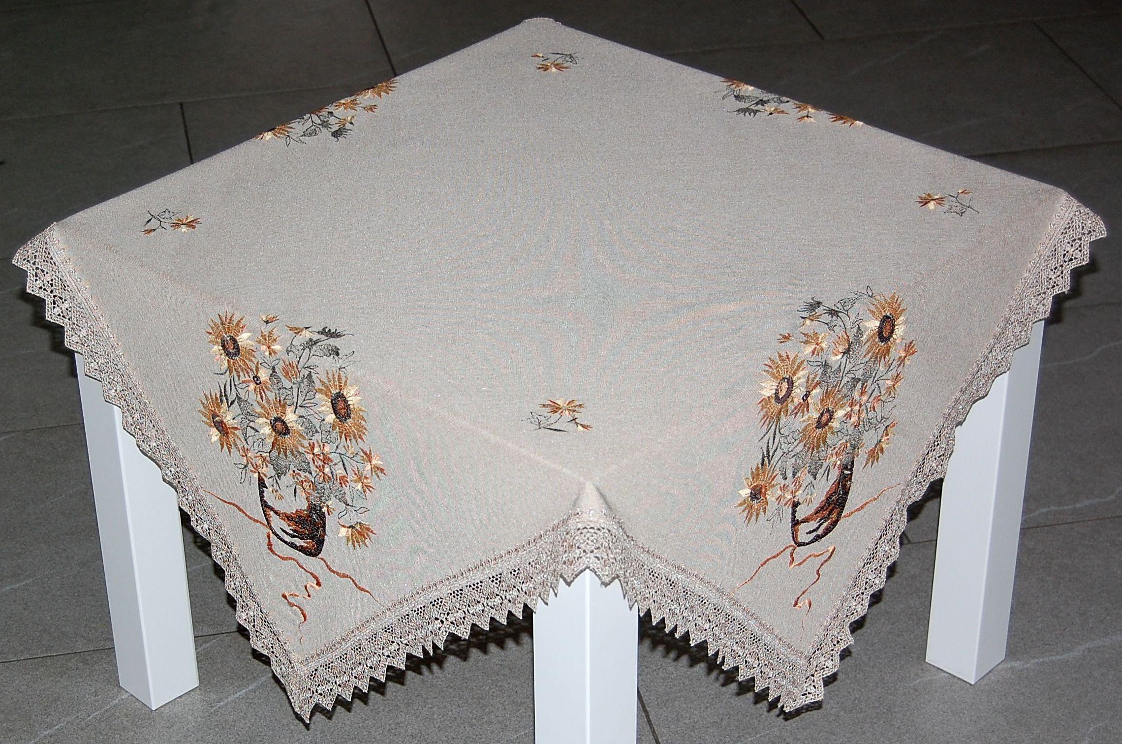 tischdecke beige sonnenblume spitze tischl ufer. Black Bedroom Furniture Sets. Home Design Ideas