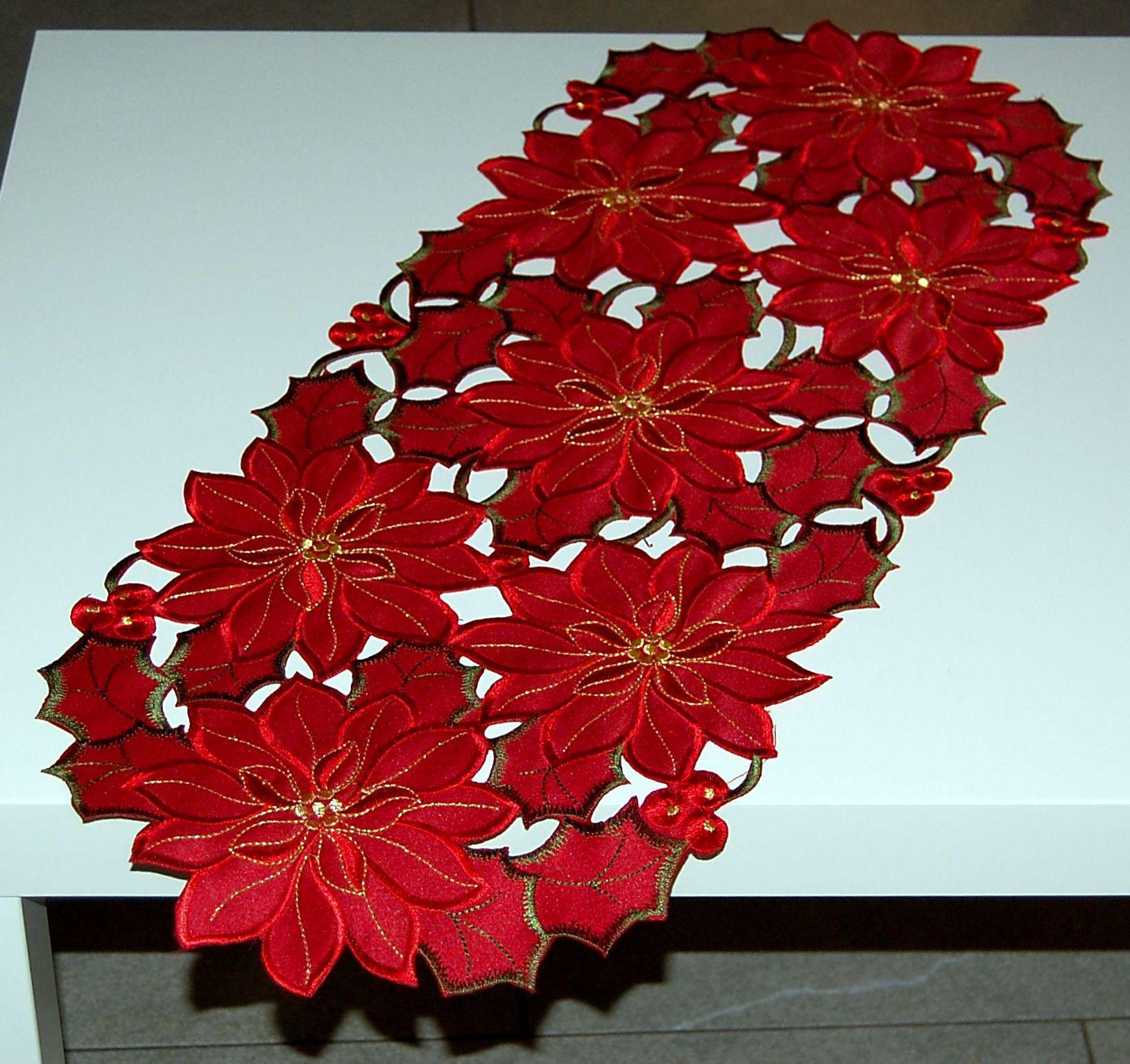 h bsche tischdecke weihnachten advent rot gr n gold weihnachtsstern tischl ufer ebay. Black Bedroom Furniture Sets. Home Design Ideas