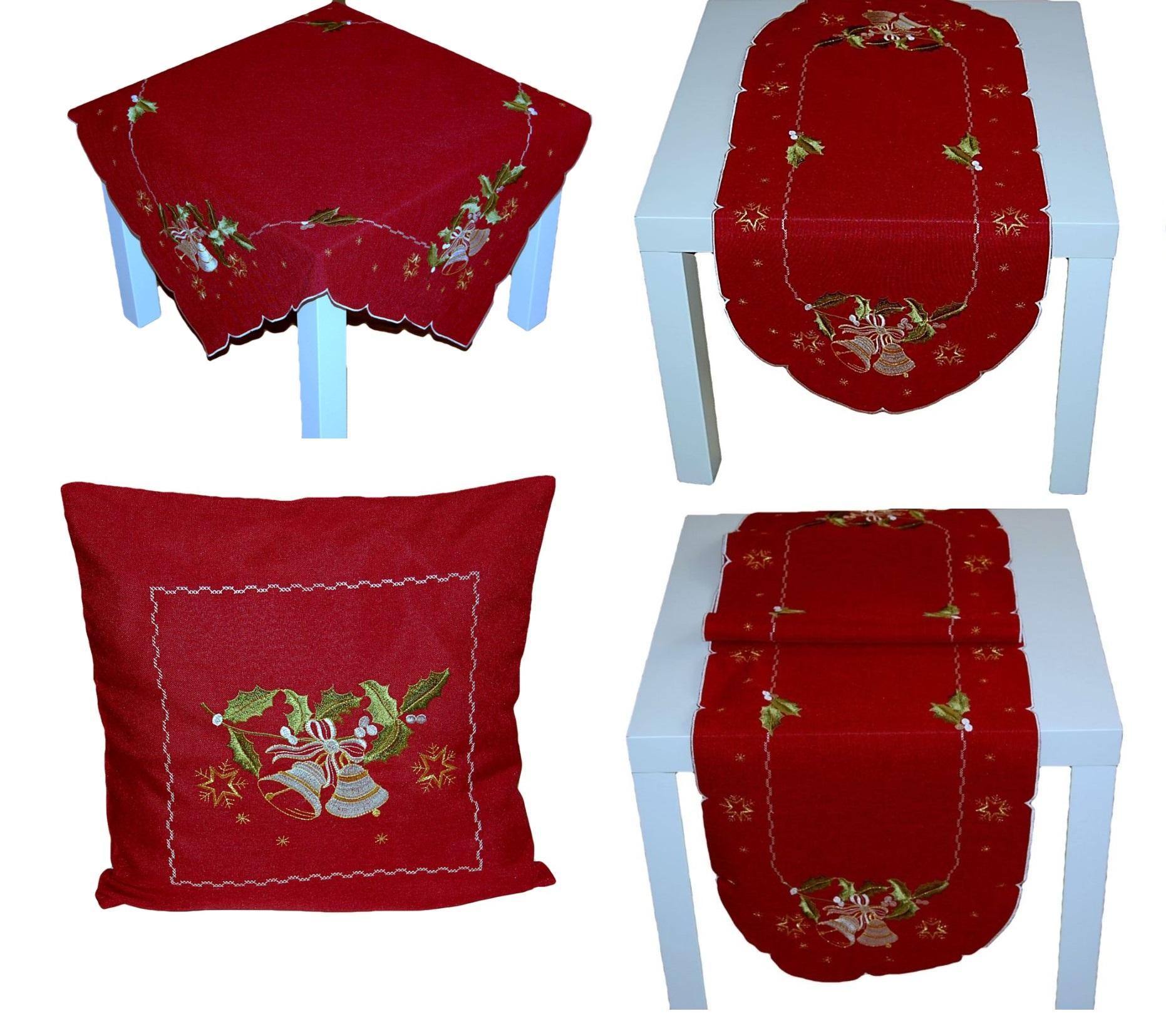 tischdecke weihnachten weinrot glocken wei gold. Black Bedroom Furniture Sets. Home Design Ideas