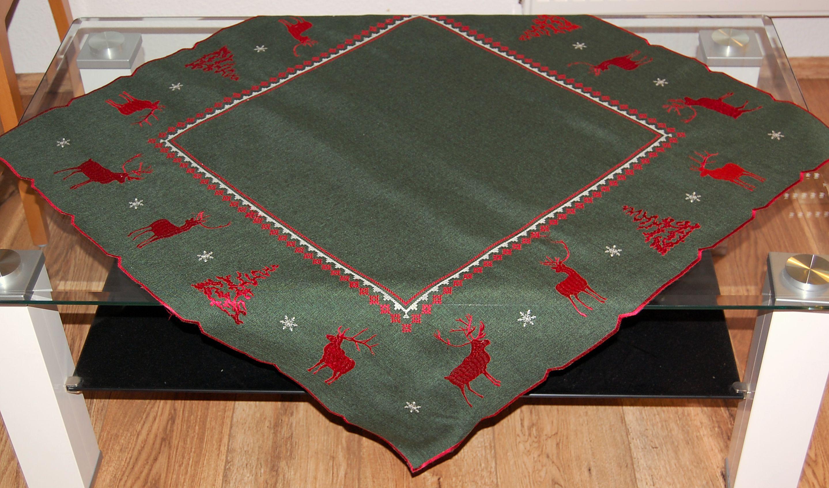 tischdecke weihnachten gr n hirsch rot wei tischl ufer. Black Bedroom Furniture Sets. Home Design Ideas