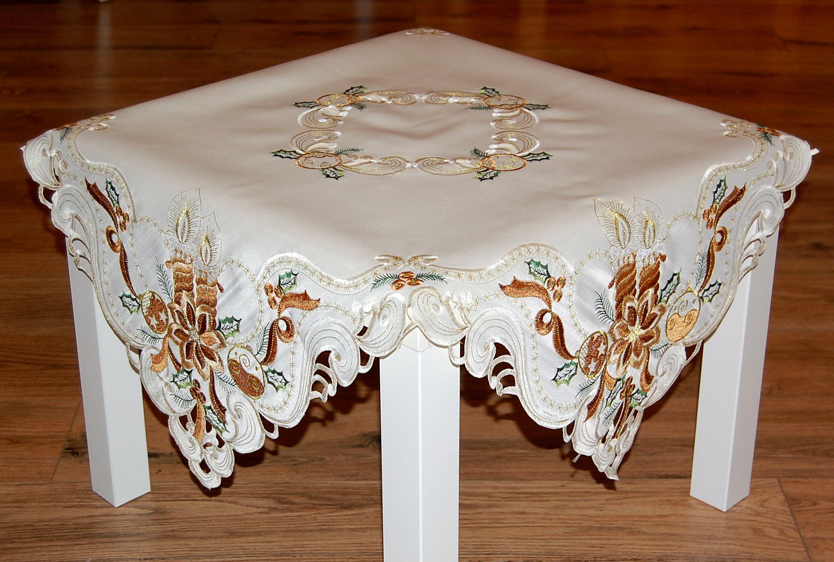 tischdecke weihnachten beige kerze braun gold tischl ufer deckchen tischband ebay. Black Bedroom Furniture Sets. Home Design Ideas