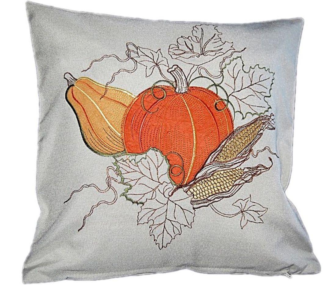 Tischdecke grau k rbis orange gestickt herbst halloween for Bildmotive wohnzimmer