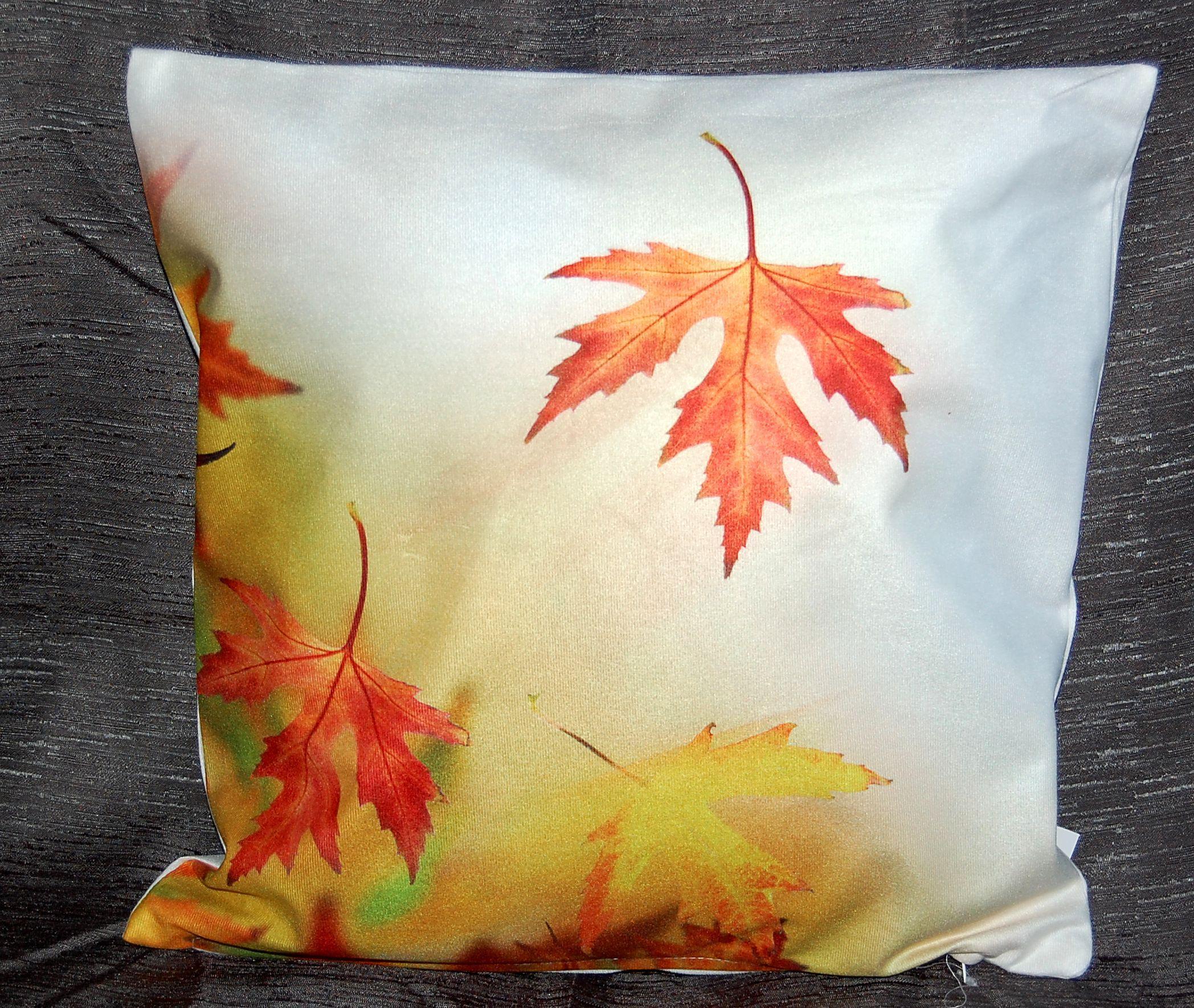 kissenh lle 40x40 cm kissenbezug foto herbst sofakissen kissen bl tter sunflower ebay. Black Bedroom Furniture Sets. Home Design Ideas