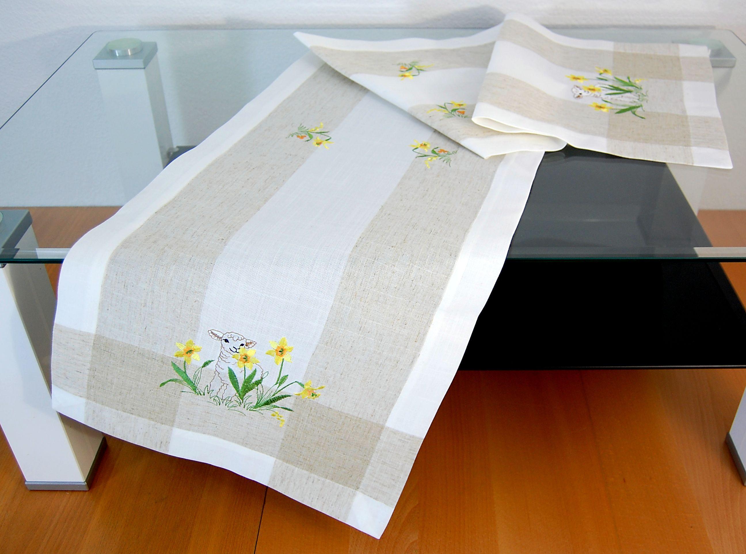 tischdecke ostern leinenoptik osterlamm landhaus. Black Bedroom Furniture Sets. Home Design Ideas