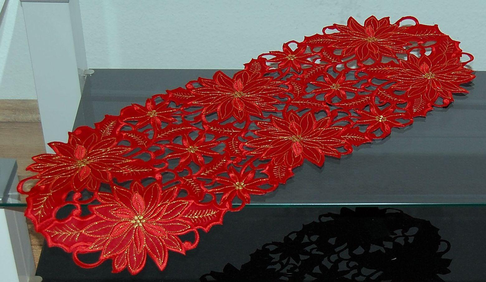 tischdecke weihnachten rot gold weihnachtsstern tischl ufer mitteldecke l ufer ebay. Black Bedroom Furniture Sets. Home Design Ideas