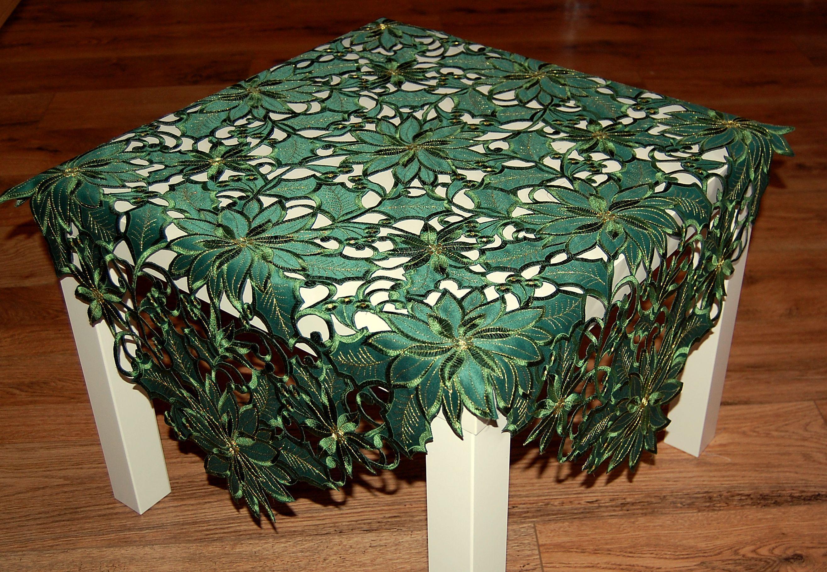 tischdecke weihnachten gr n gold weihnachtsstern tischl ufer oval mitteldecke ebay. Black Bedroom Furniture Sets. Home Design Ideas