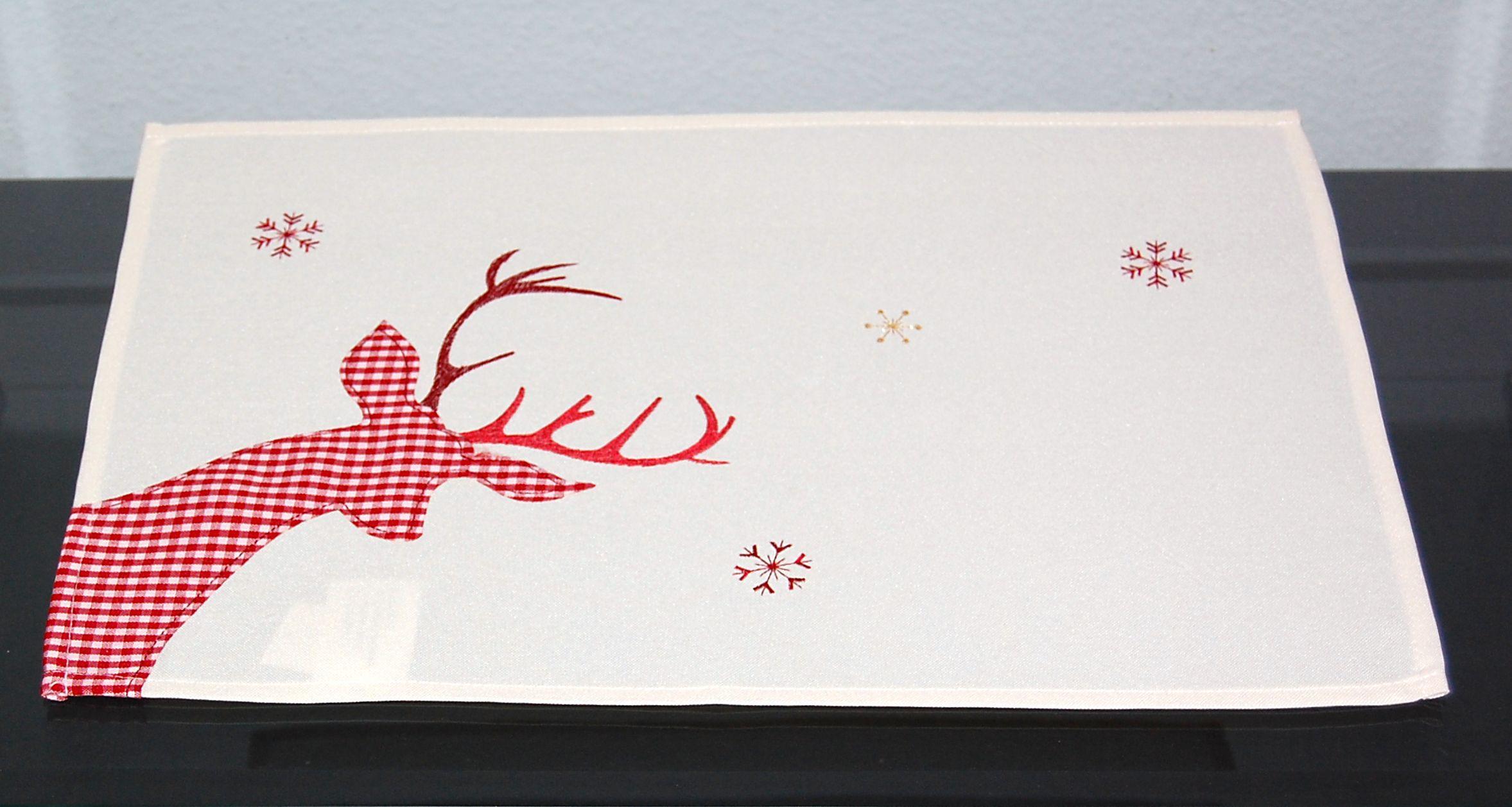 tischdecke weihnachten creme hirsch rot wei kariert. Black Bedroom Furniture Sets. Home Design Ideas