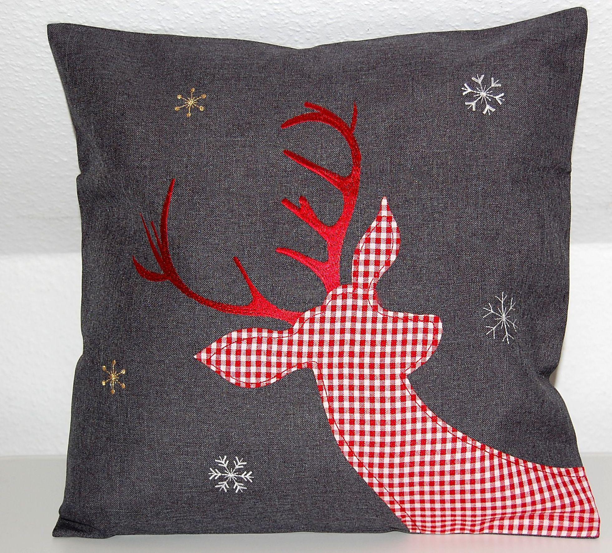 tischdecke weihnachten anthrazit hirsch rot wei kariert kissenh lle tischl ufer ebay. Black Bedroom Furniture Sets. Home Design Ideas