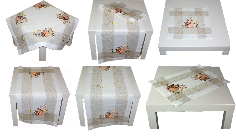 tischdecke ostern leinenoptik natur osterhase landhaus. Black Bedroom Furniture Sets. Home Design Ideas