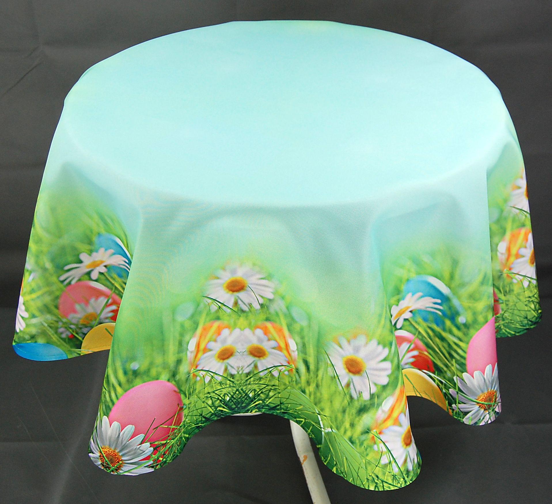 tischdecke rund ostern ostereier osterdecke tischtuch tafeltuch ostertischdecke ebay. Black Bedroom Furniture Sets. Home Design Ideas