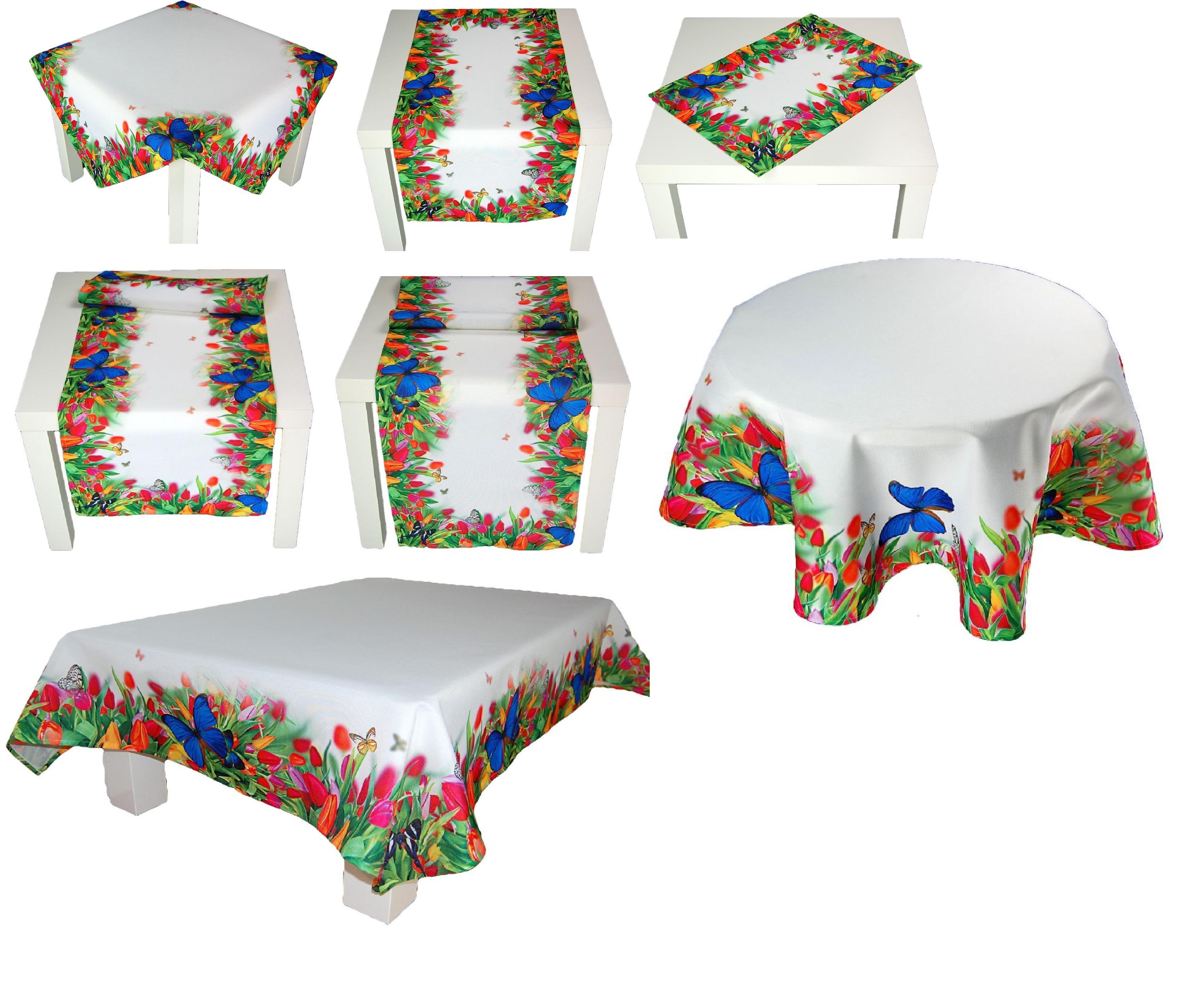 tischdecke tulpen schmetterling zierdecke fr hlingsdecke tischl ufer tafeldecke ebay. Black Bedroom Furniture Sets. Home Design Ideas