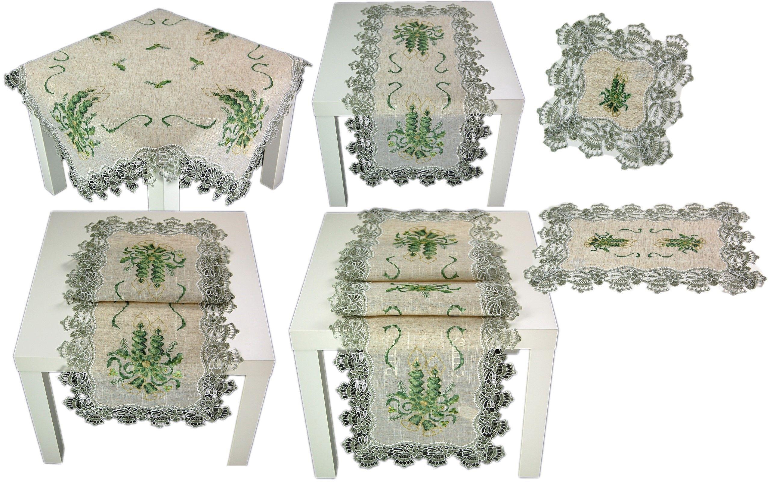 tischdecke weihnachten natur beige spitze kerzen gr n tischl ufer deckchen decke ebay. Black Bedroom Furniture Sets. Home Design Ideas