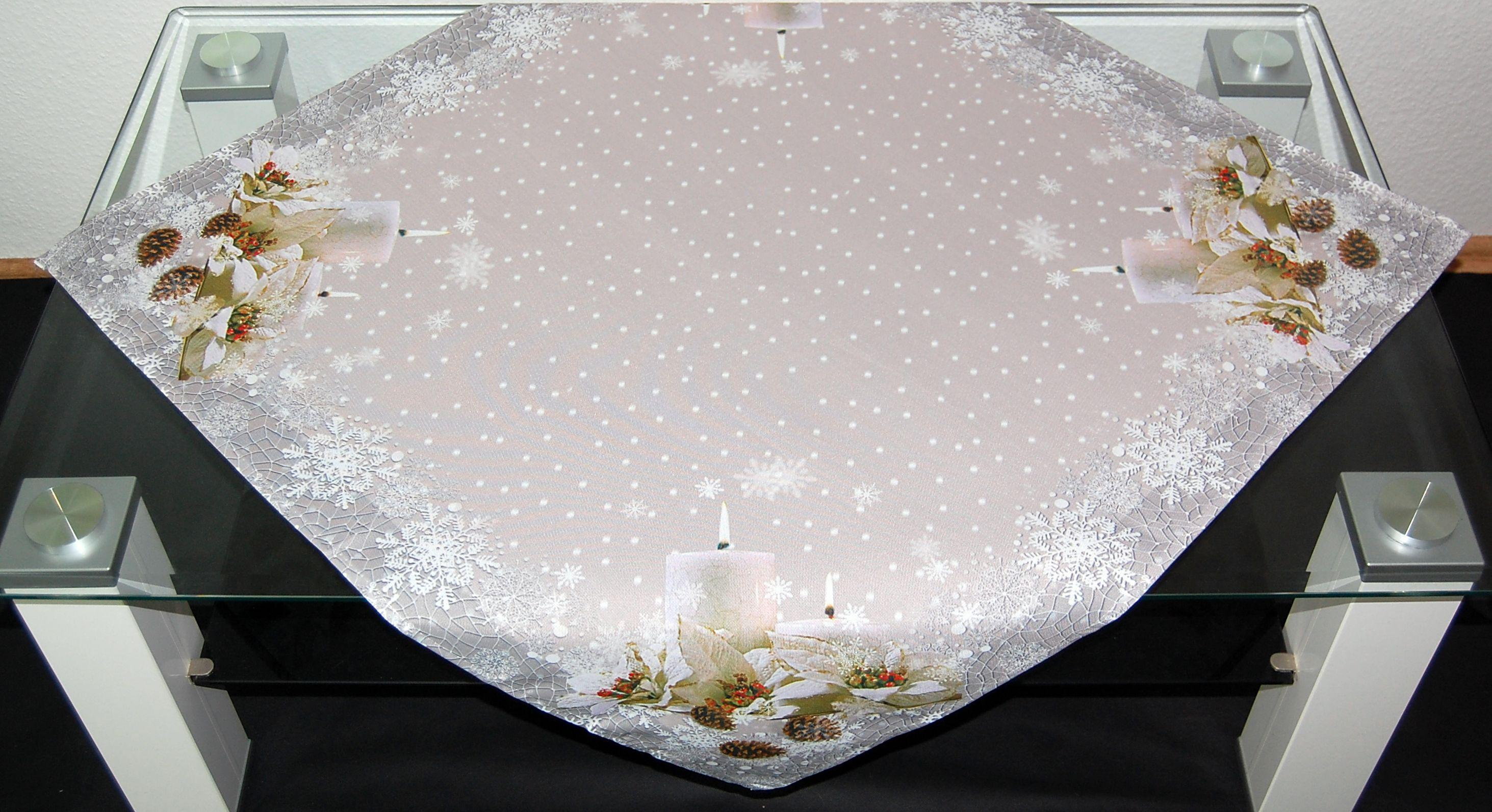 tablecloth candle grey green christmas winter table. Black Bedroom Furniture Sets. Home Design Ideas