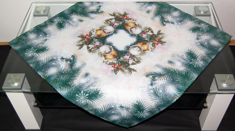 tischdecke tanne gr n weihnachten digitaldruck tischl ufer deckchen mitteldecke ebay. Black Bedroom Furniture Sets. Home Design Ideas