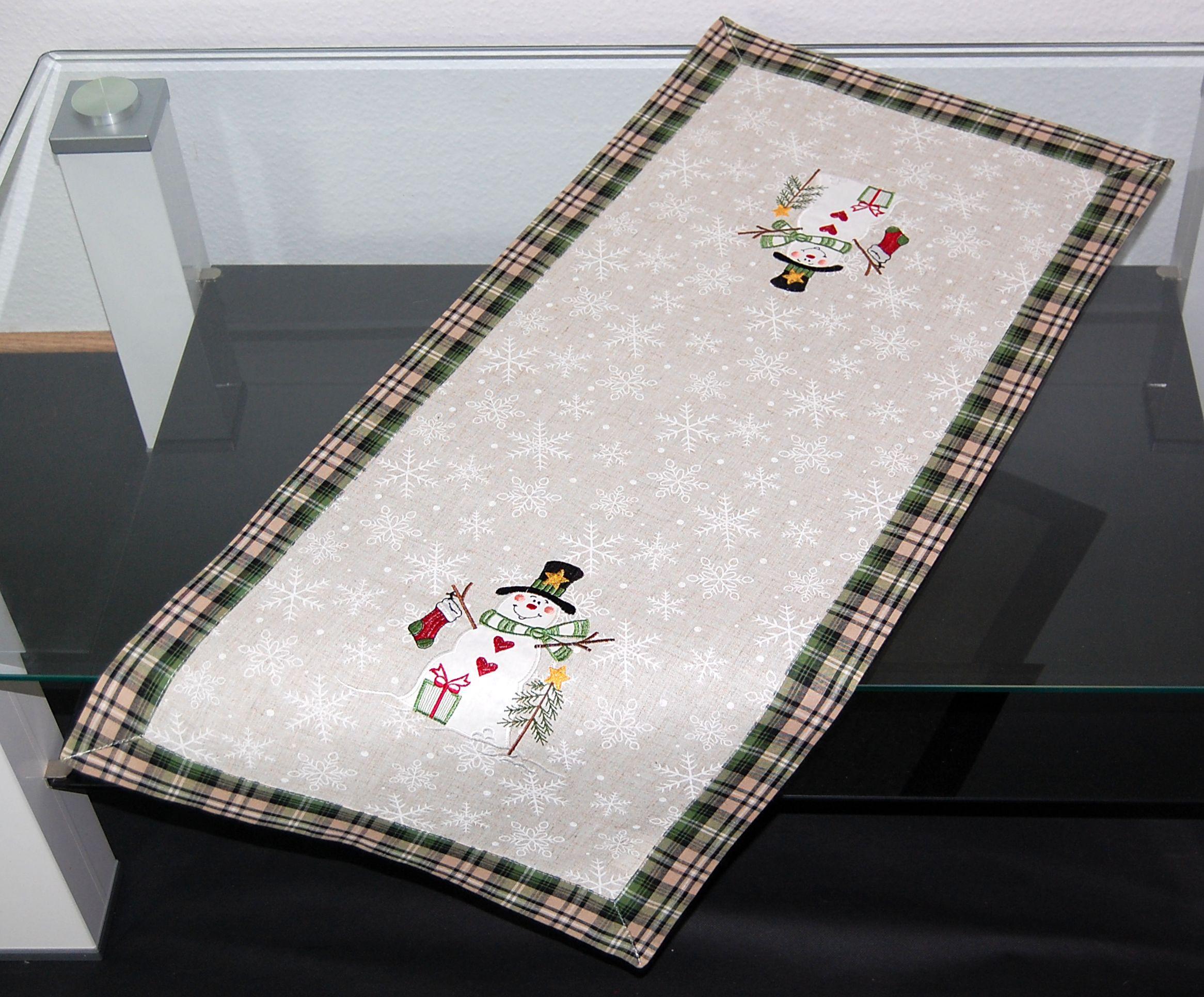 tischdecke weihnachten winter schneemann natur beige gr n. Black Bedroom Furniture Sets. Home Design Ideas