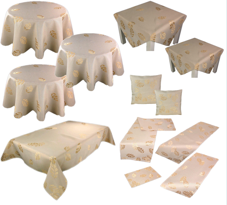 tischdecke beige herbst bl tter gestickt herbstdecke tischl ufer decke l ufer ebay. Black Bedroom Furniture Sets. Home Design Ideas