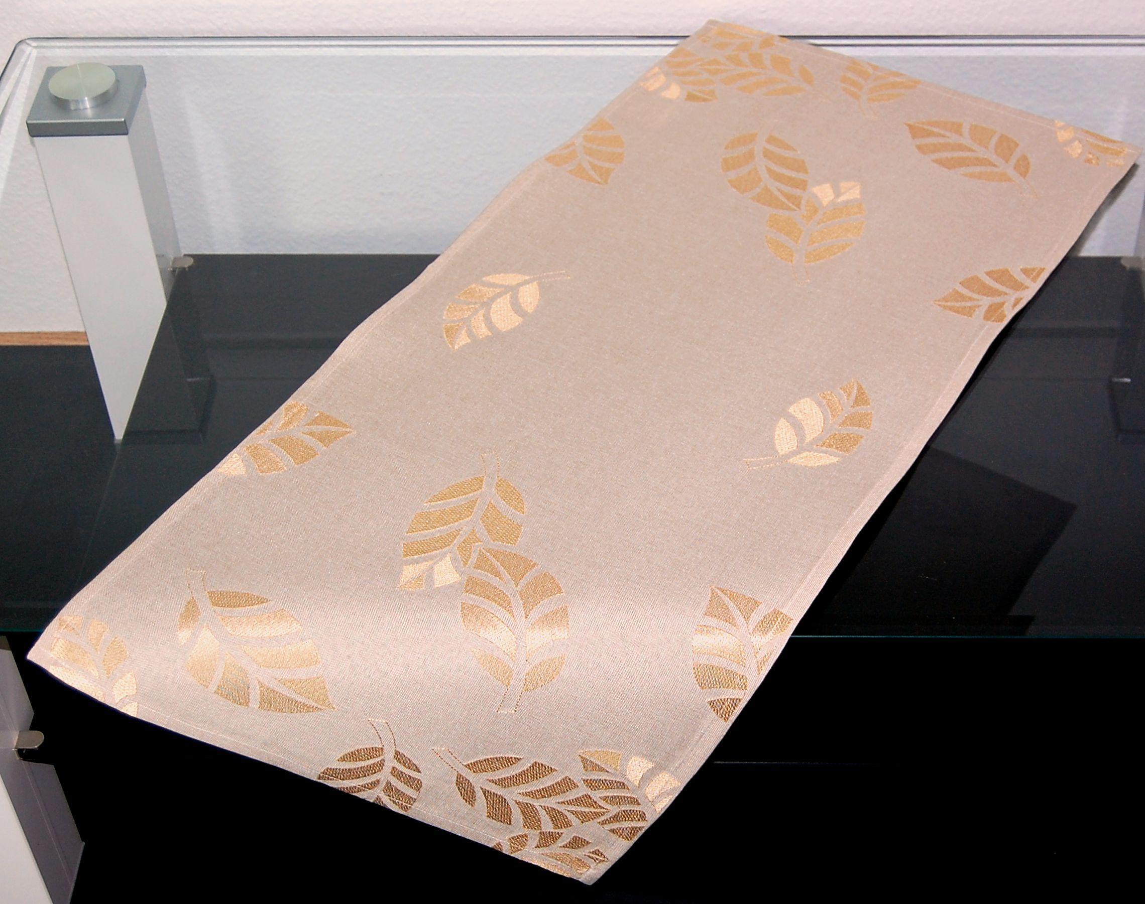 tischdecke beige herbst bl tter ton in ton herbstdecke. Black Bedroom Furniture Sets. Home Design Ideas