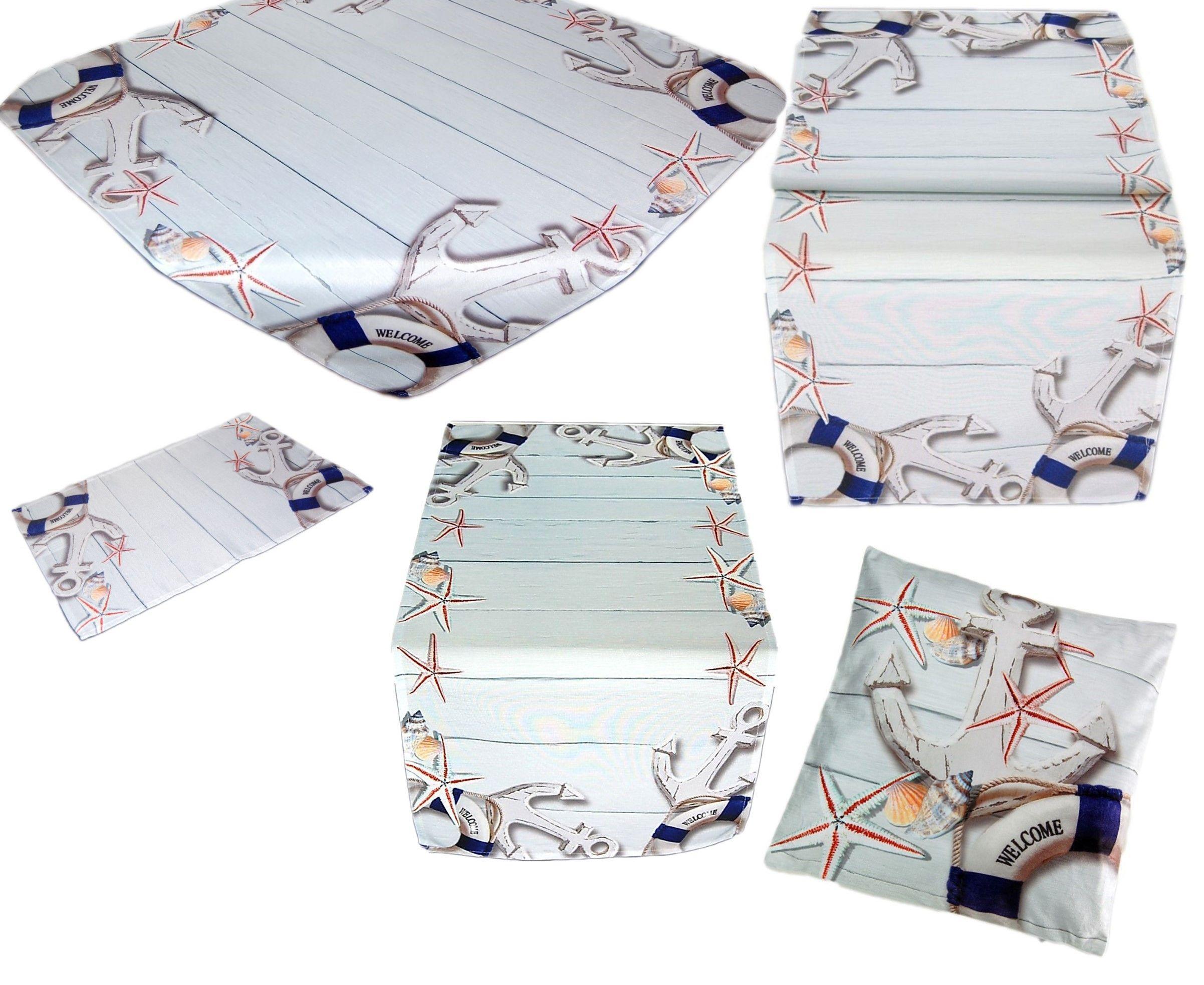Tischdecke Maritim Tischläufer Mitteldecke Decke Läufer Kissenhülle Anker Kissen