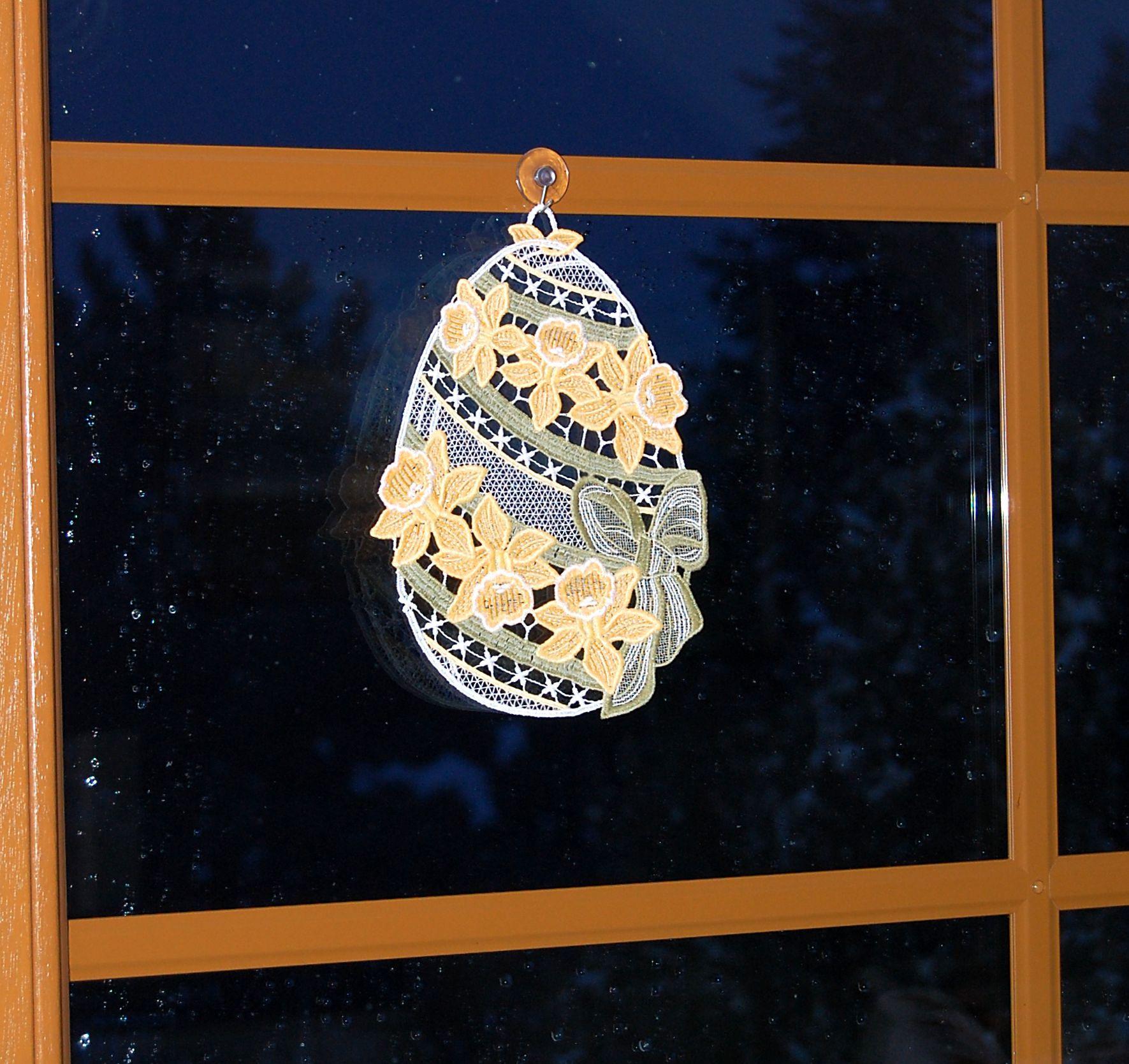 Rosen Orange Fensterbild Plauener Spitze Fensterdeko Fensterschmuck Spitzenbild