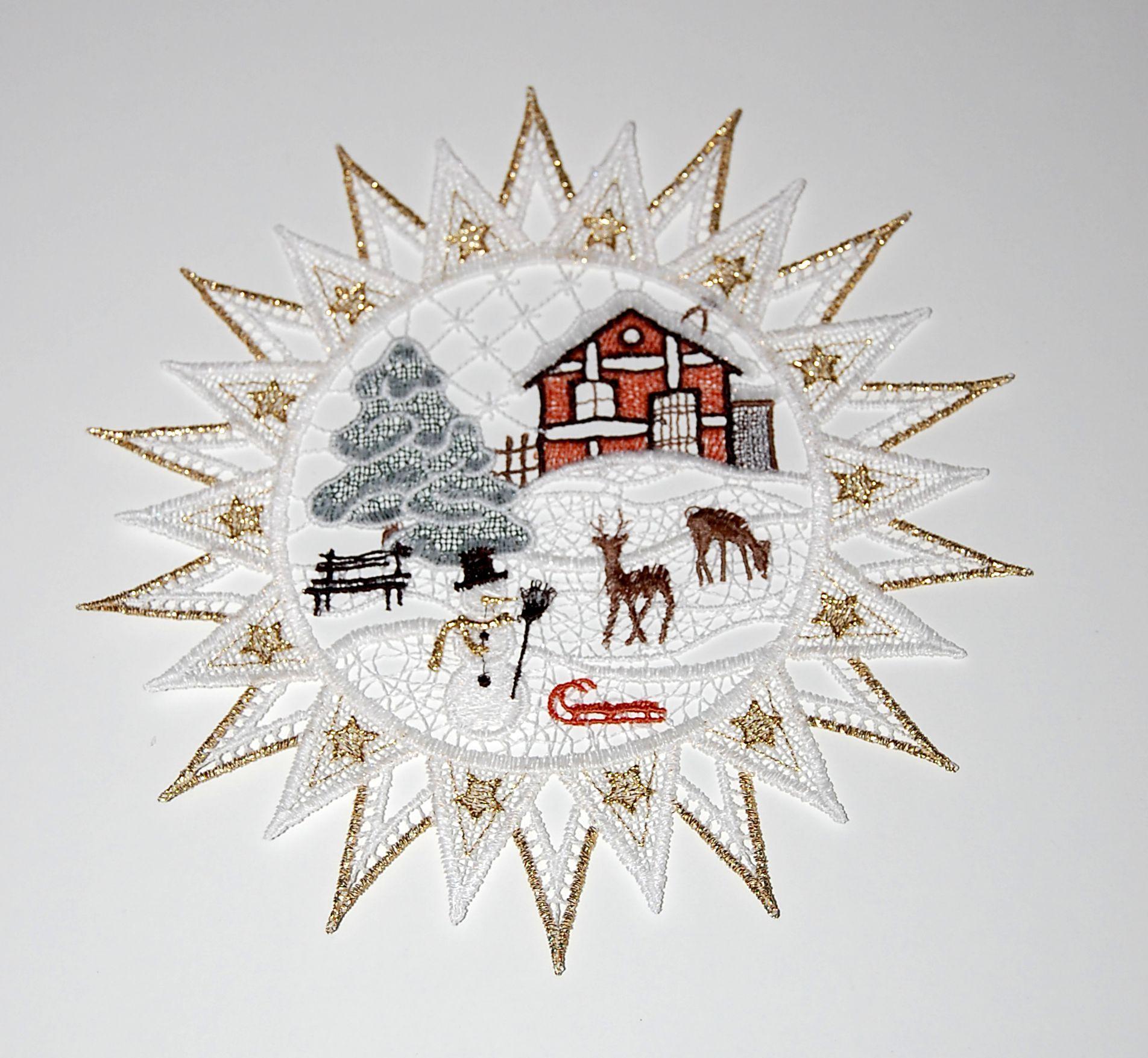 PLAUENER SPITZE ® 4er Set Fensterbild WINTER Deko KERZEN Weihnachten BAUMBEHANG