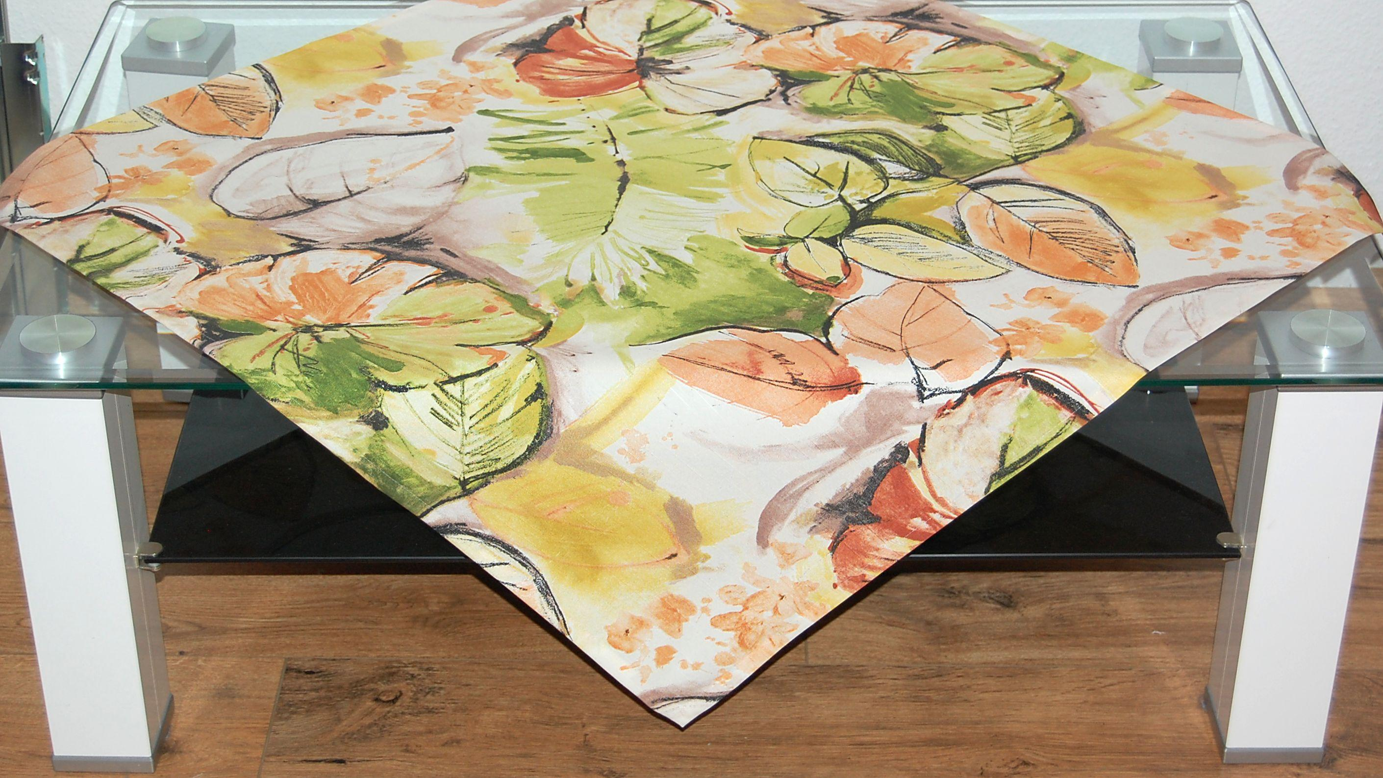 tischdecke herbst modern bl tter digitaldruck orange gr n tischl ufer tischtuch ebay. Black Bedroom Furniture Sets. Home Design Ideas