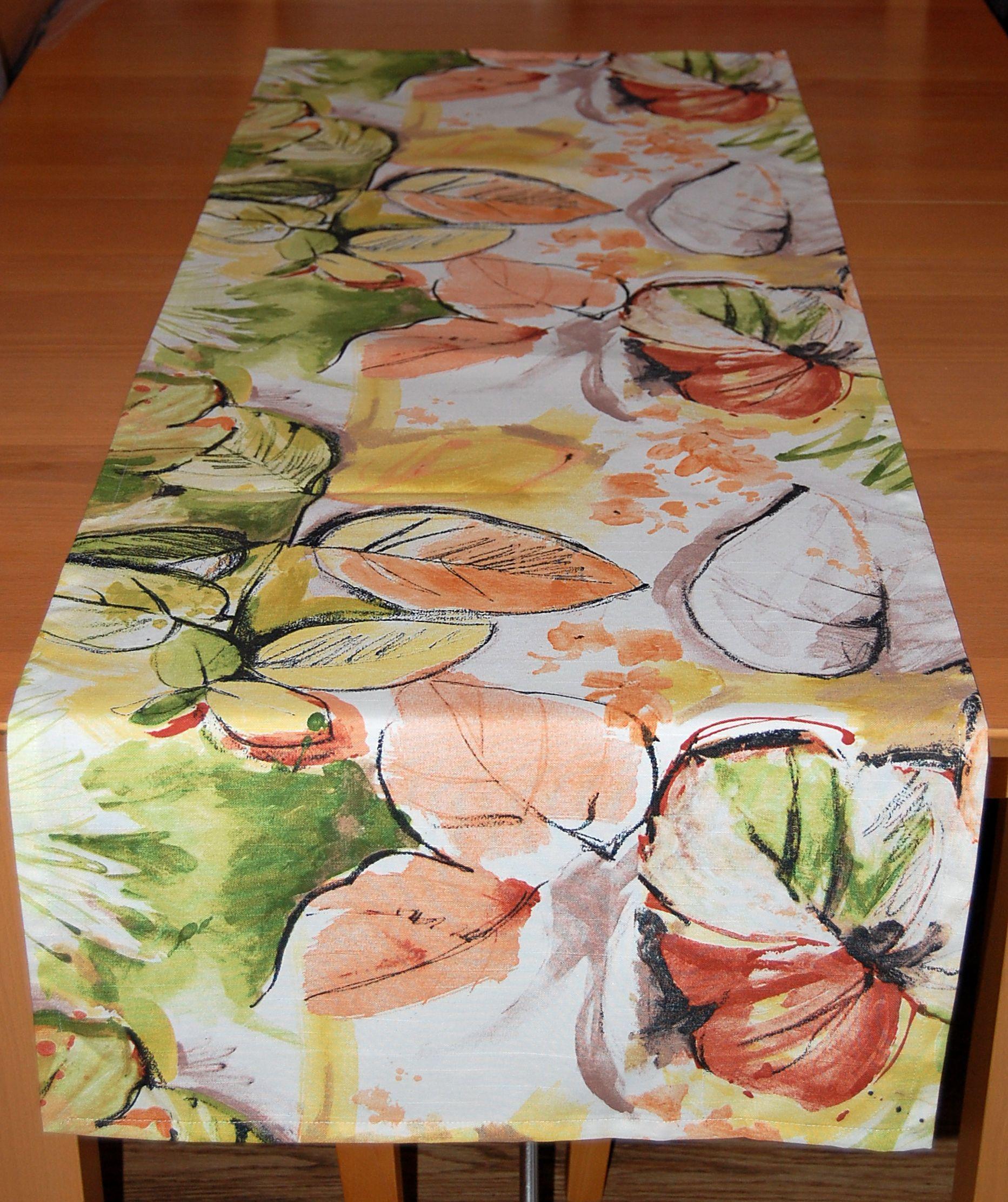 tischdecke herbst modern bl tter digitaldruck orange gr n. Black Bedroom Furniture Sets. Home Design Ideas