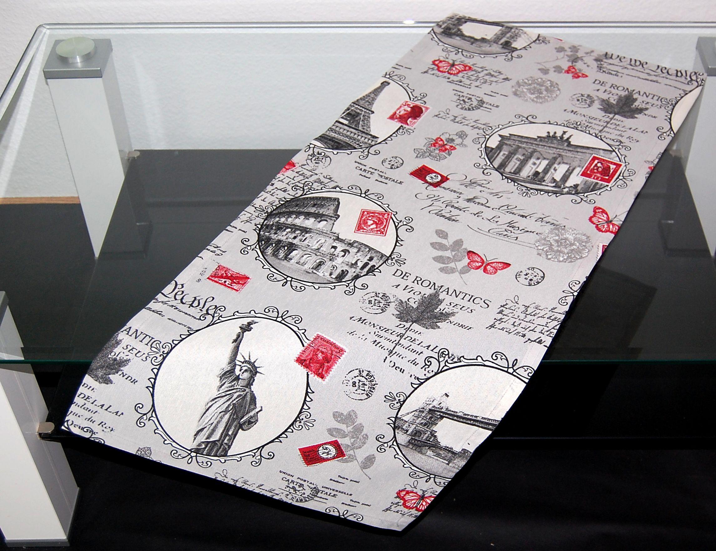 tischdecke town steingrau modern digitaldruck rot. Black Bedroom Furniture Sets. Home Design Ideas