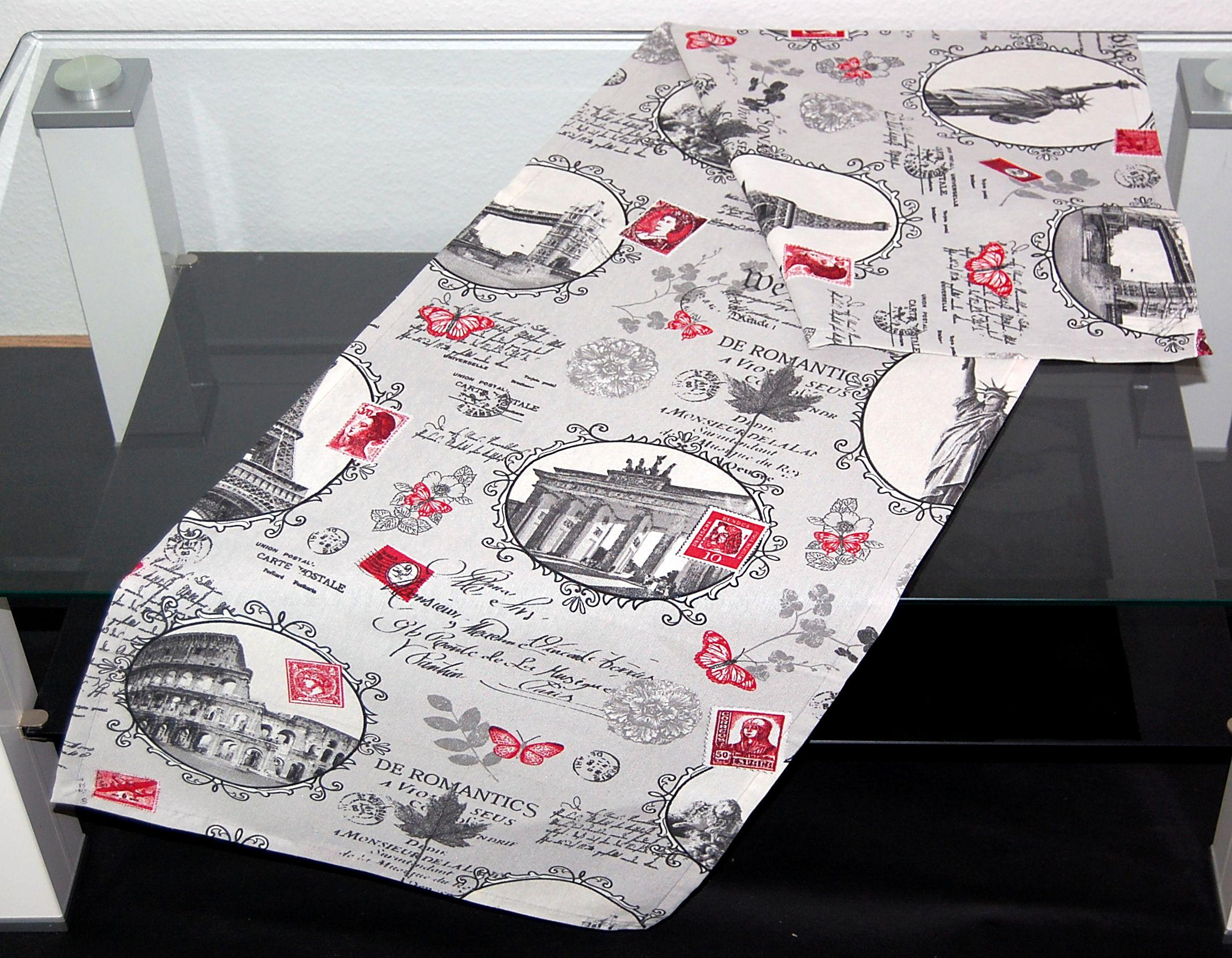 Tischläufer Modern tischdecke town steingrau modern digitaldruck rot städtemotiv