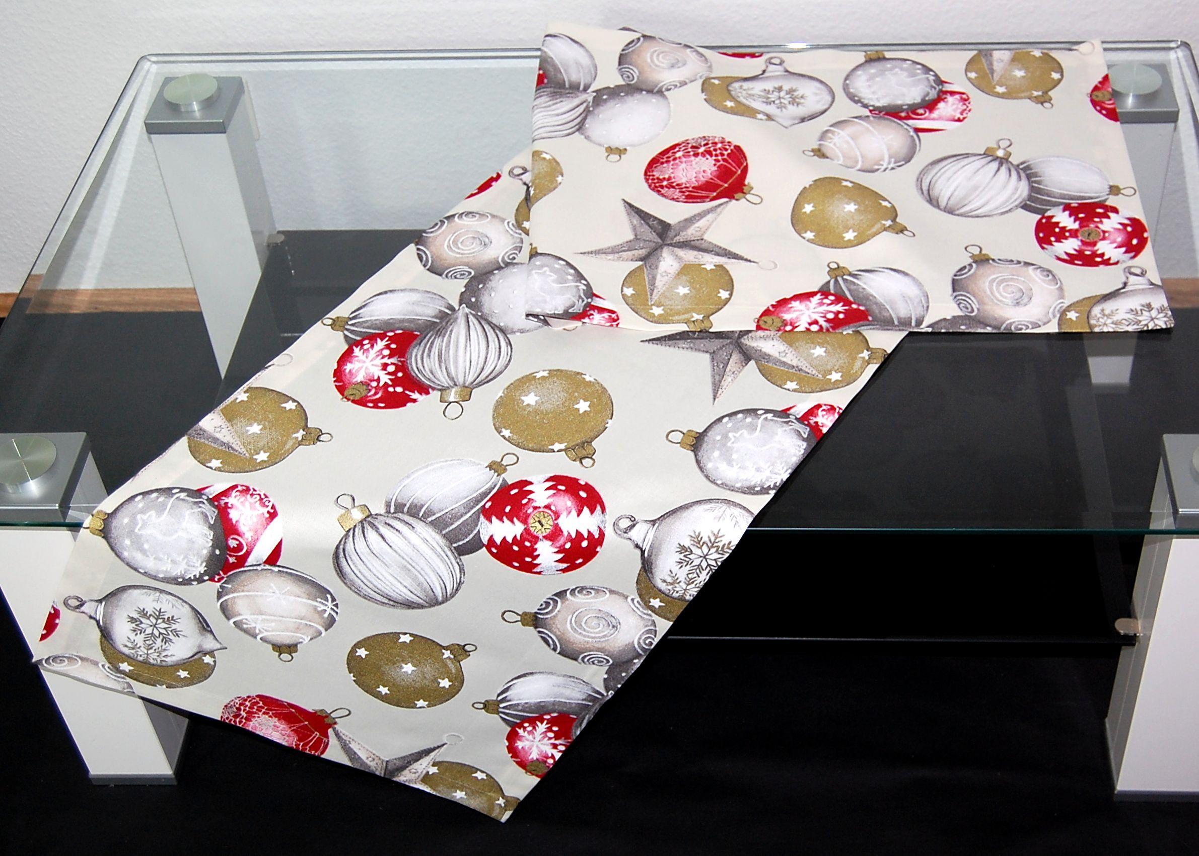 tischdecke weihnachten modern x mas balls weihnachtsdecke tischl ufer gerber ebay. Black Bedroom Furniture Sets. Home Design Ideas