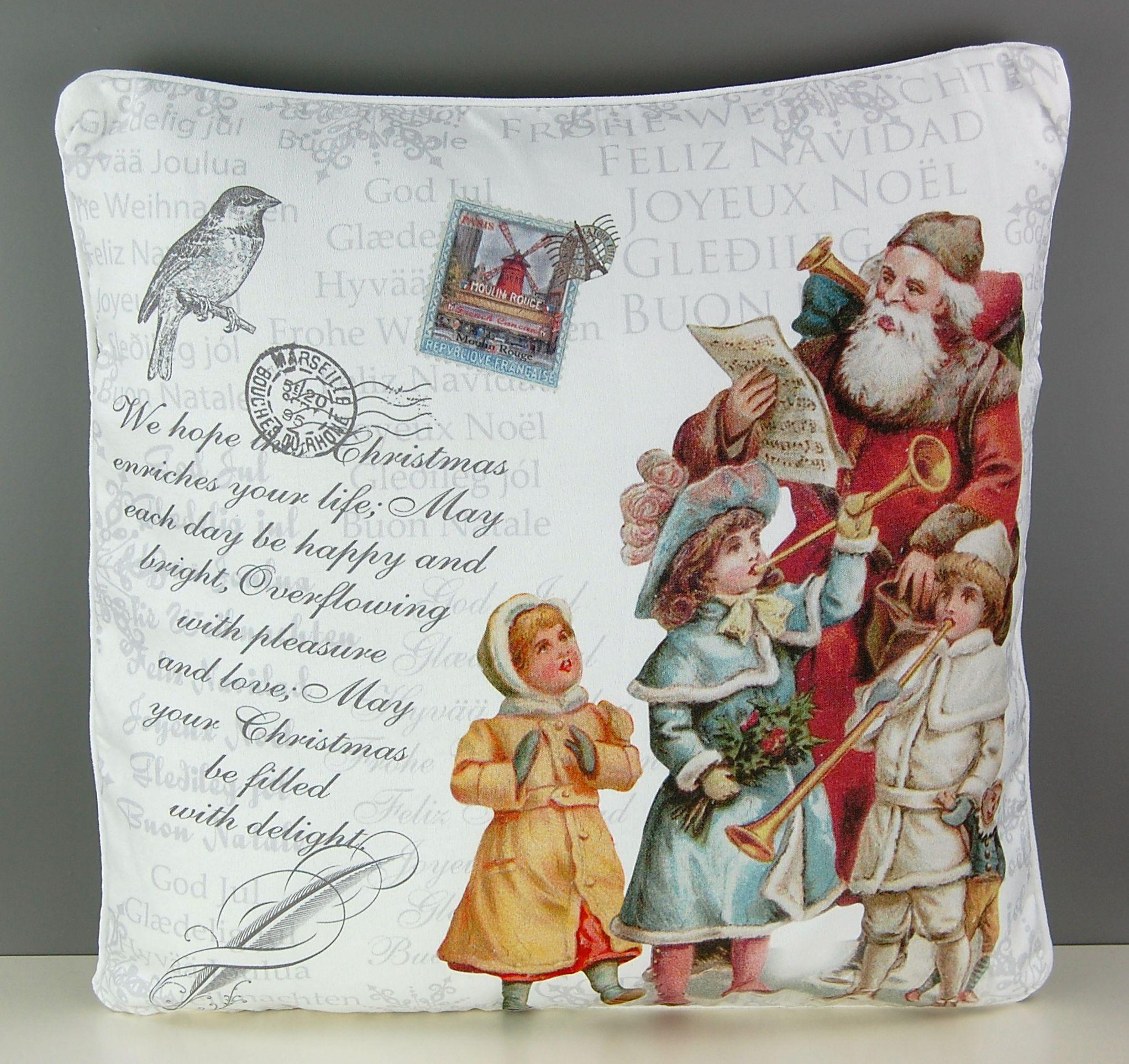 pillow case 40x40 cm christmas white pillowcase nostalgia nicholas dwarves colourful ebay. Black Bedroom Furniture Sets. Home Design Ideas