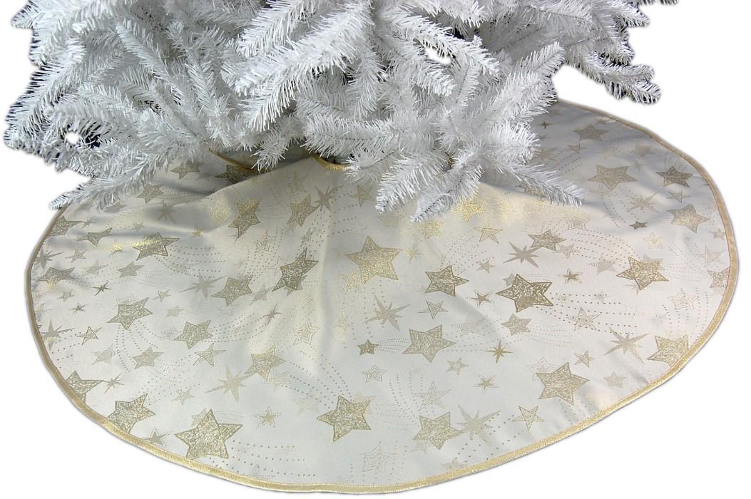 baumdecke 130 cm rund weihnachten creme sterne gold. Black Bedroom Furniture Sets. Home Design Ideas