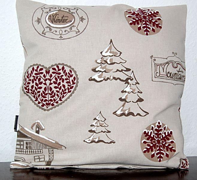 kissen 50x50 cm weihnachten natur grau zarco h tte weinrot. Black Bedroom Furniture Sets. Home Design Ideas