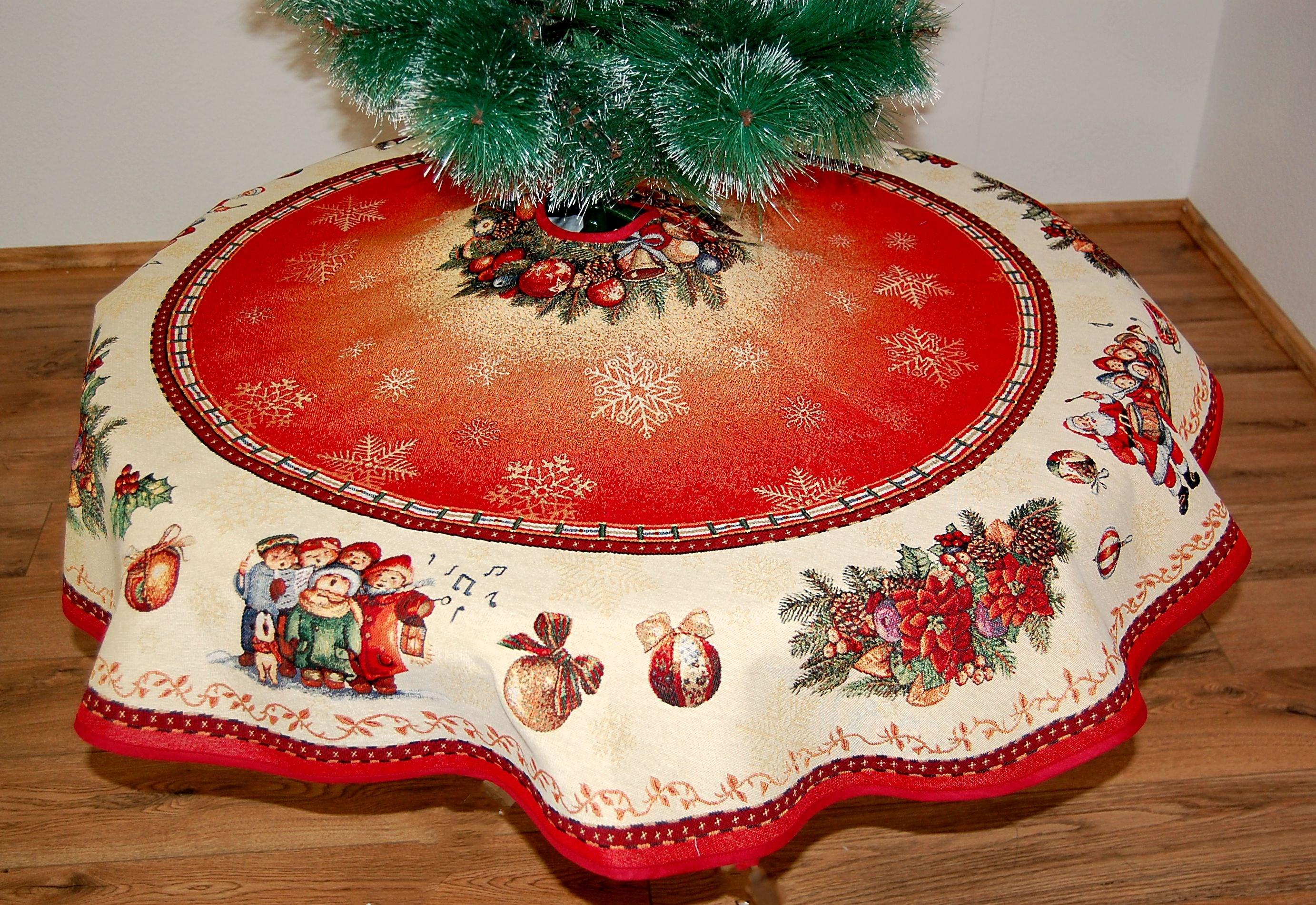 baumdecke gobelin 95 cm 130 cm weihnachten nostalgie rot bunt christbaumdecke ebay. Black Bedroom Furniture Sets. Home Design Ideas