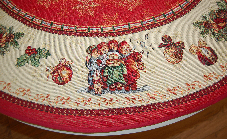 baumdecke gobelin 95 cm 130 cm weihnachten nostalgie rot bunt christbaumdecke ebay. Black Bedroom Furniture Sets. Home Design Ideas