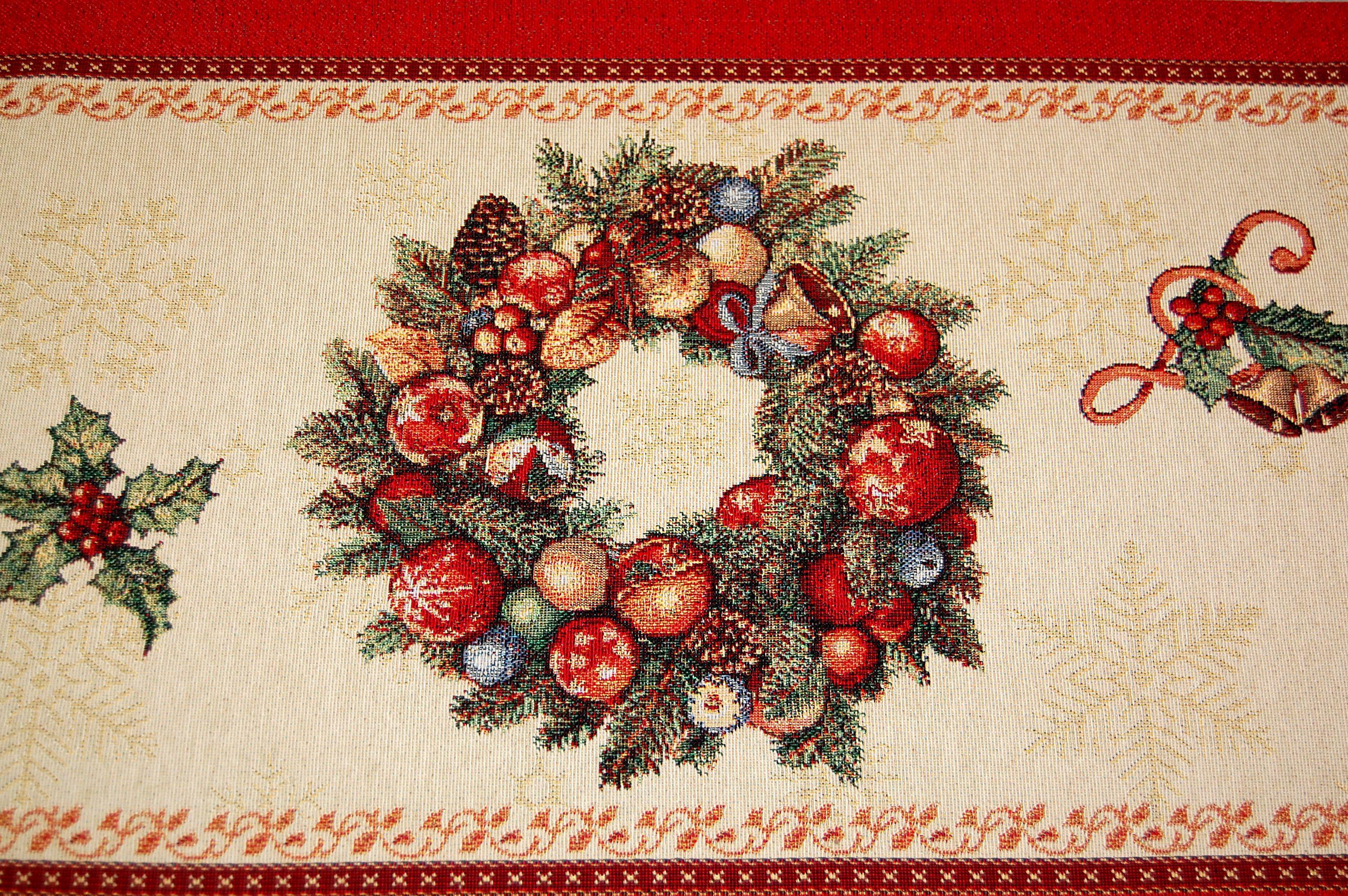 tischdecke gobelin weihnachten nostalgie rot landhaus tischl ufer kissenbezug ebay. Black Bedroom Furniture Sets. Home Design Ideas