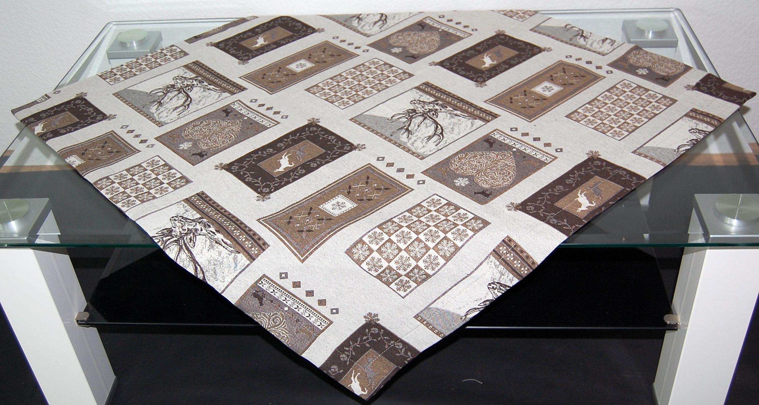 tischdecke braun beige weihnachten jagd hirsch mitteldecke tischl ufer jagdmotiv ebay. Black Bedroom Furniture Sets. Home Design Ideas