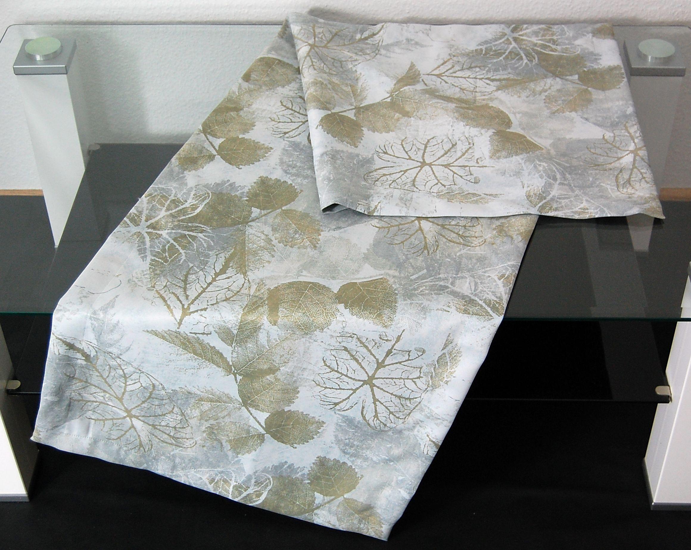 hossner tischdecke pamela hellgrau herbst blatt bl tter gr n modern tischl ufer ebay. Black Bedroom Furniture Sets. Home Design Ideas