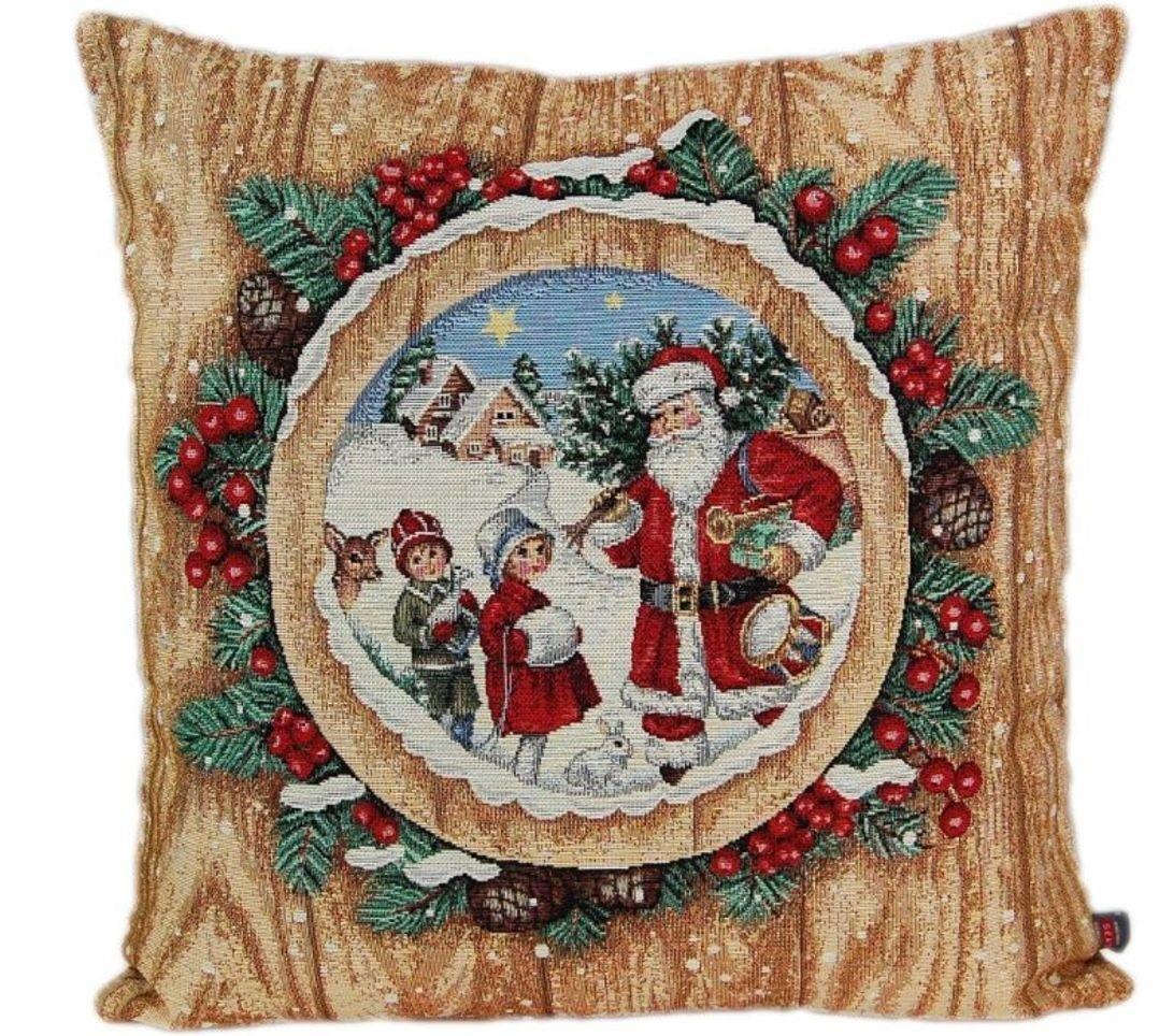 Hossner Kissenhülle Weihnachten Gobelin Kissenbezug 45x45 Cm