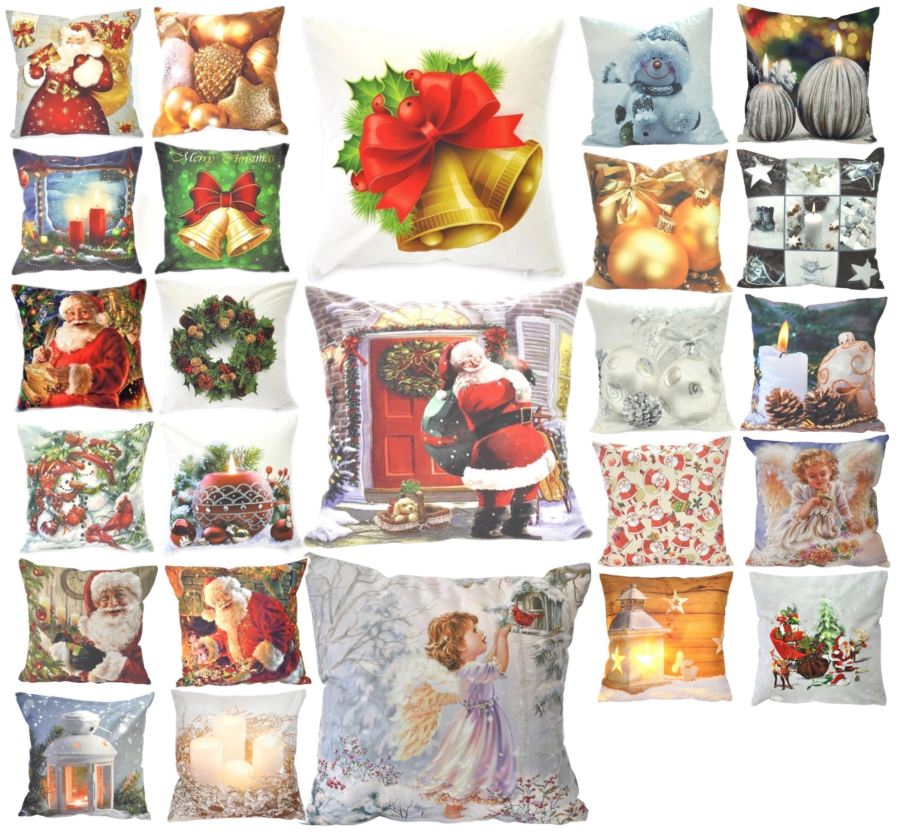 Kissenbezug 40x40 Weihnachten Stickerei Kissenhülle in 4 Motiven Deko Kissen